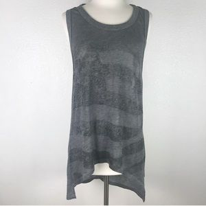 Chaser American Flag Burnout Hi-Low Tank Top Gray